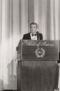 Walter Mondale speaking at the first HRC dinner. From Cornell University's HRC collection.