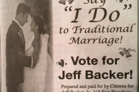 Backer tells media voters brought up marriage equality; his campaign materials say otherwise