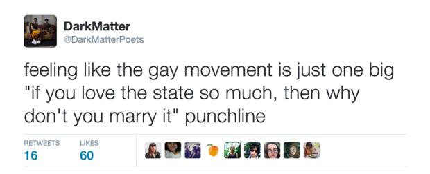 One of DarkMatter's many pithy Twitter commentaries: https://twitter.com/darkmatterpoets